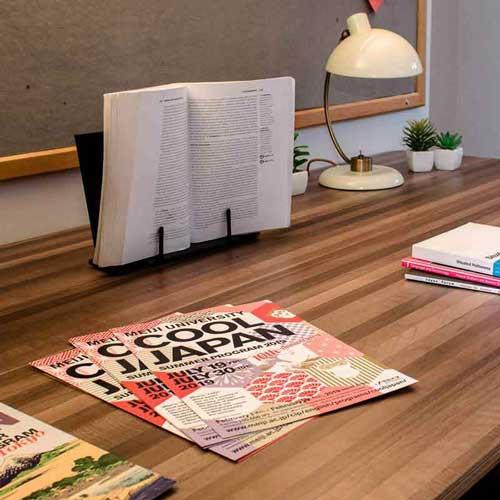 Japanese leaflets on table