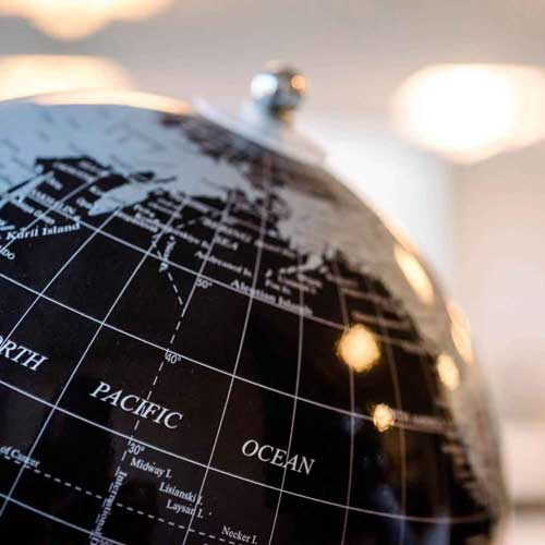 Globe showing North Pacific Ocean