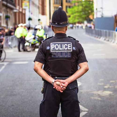 Police officer in street