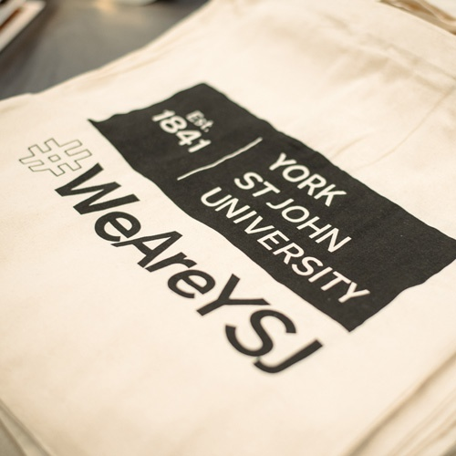 Tote bag with York St John logo and #WeAreYSJ