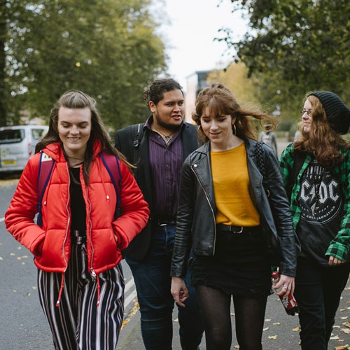 Group of students walking down Lord Mayor's Walk