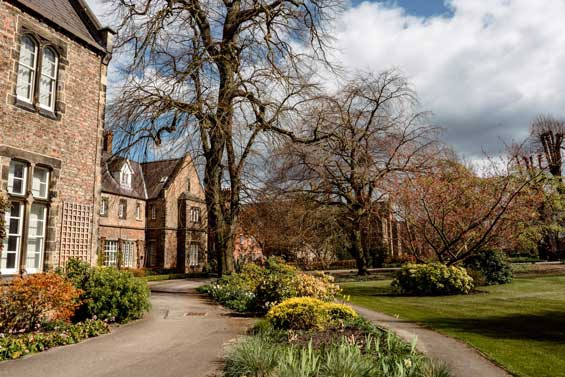 Lord Mayors Walk gardens and campus building
