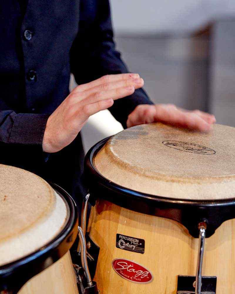 Music student drumming