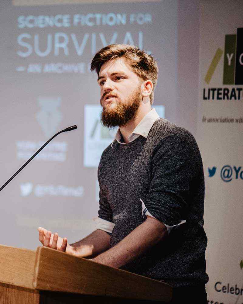 Speaker at Literature Festival discussing Science Fiction